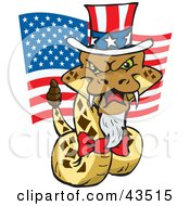 Clipart Illustration Of A Patriotic Uncle Sam Rattlesnake With An American Flag On Independence Day by Dennis Holmes Designs