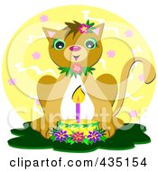 Royalty Free RF Clipart Illustration Of A Birthday Cat With A Cake And Candle Over A Yellow Circle by bpearth