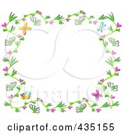 Floral Vine Border With Hearts Bees And Butterflies