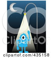 Royalty Free RF Clipart Illustration Of A Blue Monster Waving And Standing Under A Street Light At Night