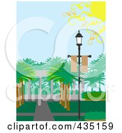 Royalty Free RF Clipart Illustration Of A Lamp With Palm Trees And Sidewalks by mheld