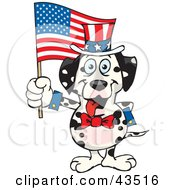 Clipart Illustration Of A Patriotic Uncle Sam Dalmatian Waving An American Flag On Independence Day by Dennis Holmes Designs