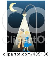 Royalty Free RF Clipart Illustration Of A Romantic Couple Strolling Under A Street Light At Night by mheld