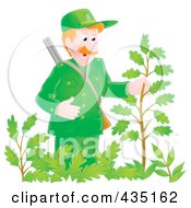 Royalty Free RF Clipart Illustration Of A Forest Ranger Man Inspecting A Plant by Alex Bannykh