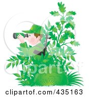 Royalty Free RF Clipart Illustration Of An Army Man Hiding In Plants And Using Binoculars