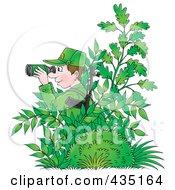 Cartoon Army Man Hiding In Plants And Using Binoculars