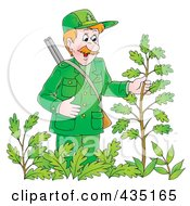 Royalty Free RF Clipart Illustration Of A Cartoon Forest Ranger Man Inspecting A Plant