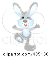 Royalty Free RF Clipart Illustration Of A Happy Gray Rabbit