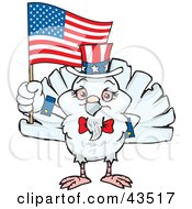 Clipart Illustration Of A Patriotic Uncle Sam Dove Waving An American Flag On Independence Day by Dennis Holmes Designs