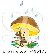 Royalty Free RF Clipart Illustration Of A Cartoon Ant Using A Mushroom As Safety From The Rain by Alex Bannykh