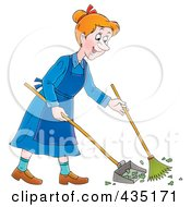 Royalty Free RF Clipart Illustration Of A Cartoon Happy Woman Sweeping Up A Mess by Alex Bannykh
