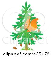 Royalty Free RF Clipart Illustration Of A Wild Squirrel Gathering Pine Cones In A Tree by Alex Bannykh