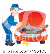 Royalty Free RF Clipart Illustration Of An Airbrushed Car Mechanic Changing The Oil by Alex Bannykh