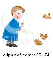 Royalty Free RF Clipart Illustration Of An Airbrushed Man Feeding Birds