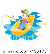 Royalty Free RF Clipart Illustration Of An Airbrushed Boy Rowing A Boat