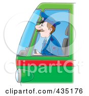 Royalty Free RF Clipart Illustration Of A Cartoon Bus Driver by Alex Bannykh