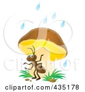 Royalty Free RF Clipart Illustration Of An Ant Using A Mushroom As Safety From The Rain by Alex Bannykh