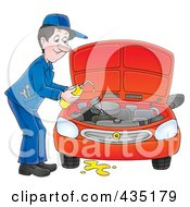 Royalty Free RF Clipart Illustration Of A Car Mechanic Changing The Oil by Alex Bannykh