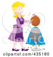 ... Illustration of a Cartoon Female Hairdresser Cutting A Boy's Hair