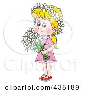 Royalty Free RF Clipart Illustration Of A Blond Girl Holding Daisies by Alex Bannykh