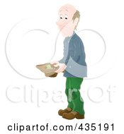 Royalty Free RF Clipart Illustration Of An Airbrushed Poor Man Holding A Hat And Asking For Money by Alex Bannykh