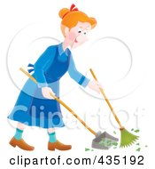 Royalty Free RF Clipart Illustration Of A Happy Woman Sweeping Up A Mess