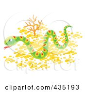 Royalty Free RF Clipart Illustration Of A Snake Slithering Over Pebbles