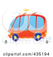 Royalty Free RF Clipart Illustration Of An Orange Van Driving On A Road