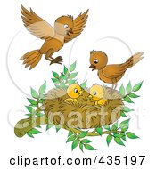 Royalty Free RF Clipart Illustration Of Cartoon Birds Tending To Their Young by Alex Bannykh