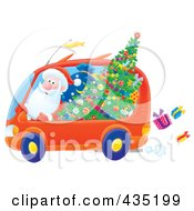 Royalty Free RF Clipart Illustration Of Santa Driving A Minivan
