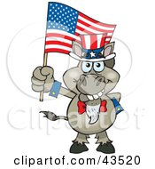 Clipart Illustration Of A Patriotic Uncle Sam Donkey Waving An American Flag On Independence Day by Dennis Holmes Designs