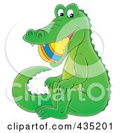 Royalty Free RF Clipart Illustration Of A Cartoon Alligator With A Ball In His Mouth by Alex Bannykh