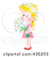 Royalty Free RF Clipart Illustration Of An Airbrushed Blond Girl Holding Daisies by Alex Bannykh