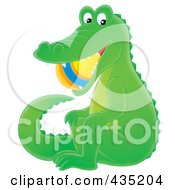 Royalty Free RF Clipart Illustration Of An Alligator With A Ball In His Mouth by Alex Bannykh