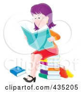 Royalty Free RF Clipart Illustration Of An Airbrushed Purple Haired Woman Sitting On A Stack Of Books And Reading The News by Alex Bannykh