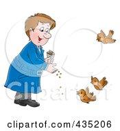 Royalty Free RF Clipart Illustration Of A Man Feeding Birds