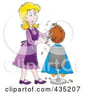 Cartoon Female Hairdresser Cutting A Boys Hair