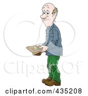 Royalty Free RF Clipart Illustration Of A Poor Man Holding A Hat And Asking For Money by Alex Bannykh