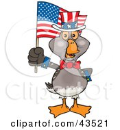 Clipart Illustration Of A Patriotic Uncle Sam Goose Waving An American Flag On Independence Day by Dennis Holmes Designs