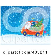 Royalty Free RF Clipart Illustration Of Santa Driving A Minivan In The Snow