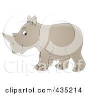 Royalty Free RF Clipart Illustration Of A Cartoon Happy Walking Rhino by Alex Bannykh