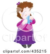 Royalty Free RF Clipart Illustration Of A Sad Woman Crying