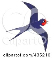 Royalty Free RF Clipart Illustration Of A Blue Swallow Flying by Alex Bannykh