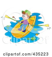 Royalty Free RF Clipart Illustration Of A Boy Rowing A Boat