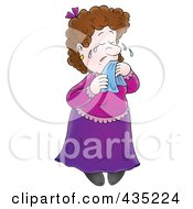 Royalty Free RF Clipart Illustration Of A Cartoon Sad Woman Crying
