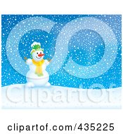 Royalty Free RF Clipart Illustration Of A Happy Snowman On A Snowy Hill