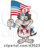 Clipart Illustration Of A Patriotic Uncle Sam Doggy Waving An American Flag On Independence Day