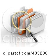 Royalty Free RF Clipart Illustration Of A 3d Magnifying Glass Searching Through Folders by Tonis Pan