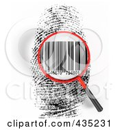 Royalty Free RF Clipart Illustration Of A 3d Magnifying Glass Hovering Over A Finger Print With A Bar Code by Tonis Pan