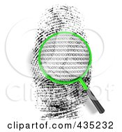 Royalty Free RF Clipart Illustration Of A 3d Magnifying Glass Hovering Over A Finger Print With Binary Code